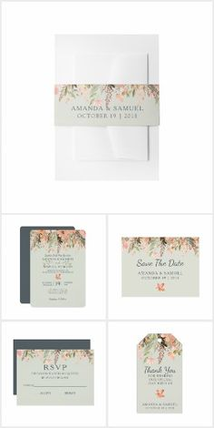 Dreamy Fall Wedding. A dreamy design featuring a cascade of leaves and blossoms in a stunning peach, olive green and cool grey color palette.  #ad