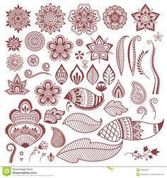 Mehndi henna tattoo flowers and leaves