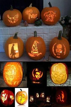 Harry Potter pumpkin carving patterns, stencils and ideas.