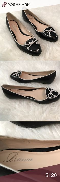 New Delman's Charm Black Flat Size 6 Runs Small Leather or patent leather upper/leather lining and sole. Delman; made in Spain. Has a hole on the sole from Nordstrom's so you cannot return them. Does not affect the shoe in anyway. Brand New never worn! Delman Shoes Flats & Loafers