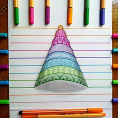 Colored Pens and Geometric Mandalas, Zentangles, Doodles Doodle Art Drawing, Mandala Drawing, Painting & Drawing, Watercolor Painting, Easy Doodle Art, Doodle Art Designs, Art Drawings Sketches Simple, Pencil Art Drawings, Dibujos Zentangle Art
