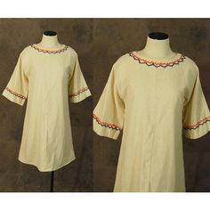 vintage 60s Dress 1960s Boho Embroidered Shift Dress Hippie Folk Bell... ($52) ❤ liked on Polyvore featuring dresses, vintage dresses, boho chic dresses, vintage shift dress, bell sleeve dress and embroidery dress