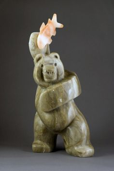 """Catch and Release"" by Mark Yale Harris, Utah Alabaster www.thornwoodgallery.com"