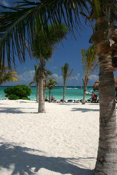 Spiaggia con le palme a Cancun in Messico, ilViaggio.it immagini. Spiaggia fine e mare cristallino.. bagnata dal mare dei Caraibi.