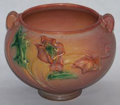 Roseville Pottery Poppy Pink Jardiniere 642-3 from Just Art Pottery