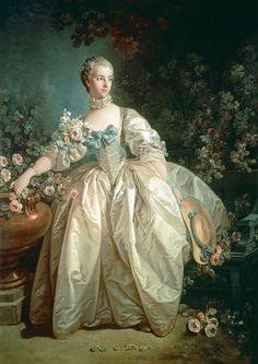 Madame Bergeret - Francois Boucher. Rococo dress, fashion.