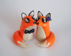 Polymer Clay Foxes Wedding Cake Topper Clay by MudAndWineStudio