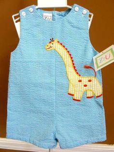 Zu Boys Blue Gingham Sunsuit with Giraffe Applique