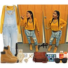A fashion look from November 2014 featuring yellow cropped sweater, denim overalls and laced booties. Browse and shop related looks.