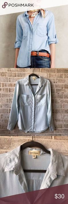 Anthropologie Cloth Stone Chambray Shirt Top S BRAND: Cloth & Stone SIZE: S Material & Care: Tencel CONDITION: Previously Owned; excellent used condition Measurements:  Length  27 Bust 19 Other: Chambray Shirt Inventory Id 351 Anthropologie Tops Button Down Shirts