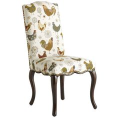 Farmhouse-chic roosters and gingham cotton combine with a classic frame to create one eclectic look. Other lively details: Hand-upholstered cushion seat and back, nailhead trim, gracefully scalloped apron and cabriole legs stained a rich, deep brown. In short, this is one rare breed.