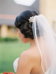 side bun & veil - I wasn't sure you could do this but looks like you can!