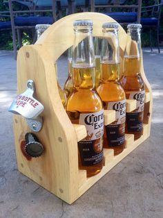 Beer caddy with magnetic catch by JKwdwrk on Etsy, $26.00