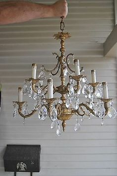 Vintage Chandelier White Antique 1930s Lighting Cast Iron Cottage Chic 3 Arm Grey Feather Pinterest Chandeliers And Cottag