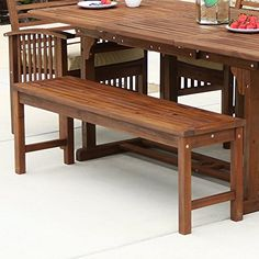 Enhance your outdoor living space with this stunning Forest Gate Eagleton All-Weather Acacia Wood Patio Bench. Built from sturdy yet stylish acacia wood, this beautiful bench is perfect for comfortable outdoor relaxation. Wood Dining Bench, Patio Bench, Patio Dining Chairs, Wood Patio, Outdoor Dining Set, Outdoor Benches, Deck Patio, Outdoor Living, Outdoor Sofas