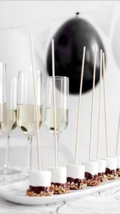 Champagne and stick canapes