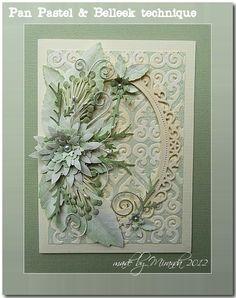 Carte fleurs et dentelle vert pâle