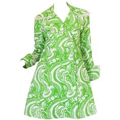 Preowned Rare 1960s Annacat Green & White Print Coat Or Dress ($1,400) ❤ liked on Polyvore featuring outerwear and white