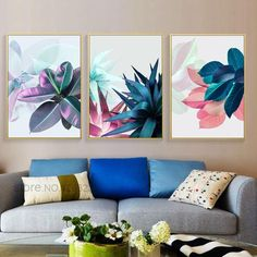 """""""Succulent Plants Nordic Poster Plakat Leaf Posters And Prints Wall Art Canvas Painting Wall Pictures For Living Room Unframed"""" Frames On Wall, Framed Wall Art, Canvas Wall Art, Wall Art Prints, Canvas Frame, Painting Canvas, Living Room Pictures, Wall Art Pictures, Canvas Pictures"""
