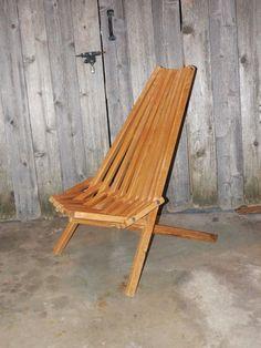 Vintage Mid Century Danish Modern Teak? Wood Slat Clam Folding Lounge Deck Chair #Unkown