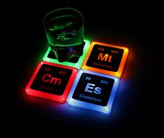 Lab Week 2015 - Lab Week Gift Ideas - Medical Laboratory Professionals Week - ASCP - NSH - Pathology Lab Solutions -- Radioactive Element Glowing Coasters Set #2 | ThinkGeek