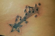 Star Tattoo Designs: Shooting Star With Musical Notes Tattoo