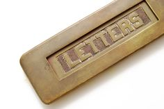 Brass Letters Door Slot or Mail Drop by VintageLancaster on Etsy.