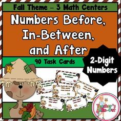 Numbers Before, In-Between, and After using 2-Digit Numbers includes 3 math centers $