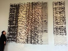 "Jiyoung Chung, ""Whisper-Romance: Blessed"", prox. 9' x 14', Hand-ground oriental ink dyed One-of-a-kind Joomchi and paper yarn.  Joomchi is a Korean technique that uses water to seal layers of paper together - similar to felting."