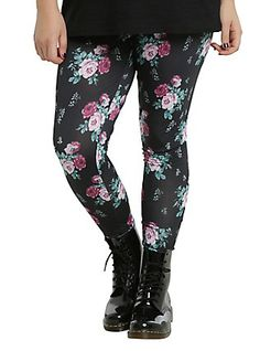 Black Floral Leggings Plus Size, BLACK