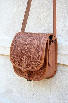 free shipping - light brown leather bag - shoulder bag - crossbody bag - handbag - ethnic bag - messenger bag - for women - capacious