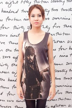 3e72d048fb21ab Johnny Depp Pirates of the Caribbean Art O Women T-shirt Dress Tank Top