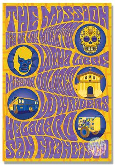 Groovy Frisco fine art prints of San Francisco icons in the style of the psychedelic Fillmore rock posters. Always designed & printed in San Francisco! Rock Posters, Concert Posters, Cesar Chavez Day, Mission District, Thing 1, San Francisco Travel, Beautiful Posters, Street Signs, Psychedelic Art