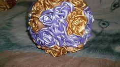 MelinetDecorCrochet / Svadobná zlato-fialová kytica
