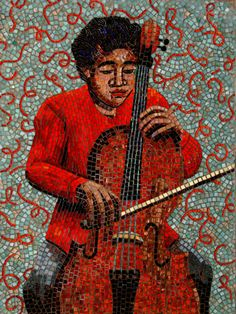 Mosaic person playing an instrument