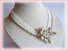 Wedding Flower necklace beading TUTORIAL di AsszaJewelrymania