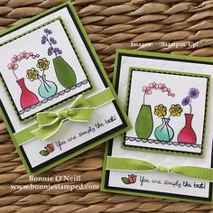 Stampin' Blends with Varied Vases Stamp Set - I love the knot in the ribbon on the Card Flower Stamp, Flower Cards, Scrapbooking, Scrapbook Cards, Stamping Up Cards, Rubber Stamping, Friendship Cards, Card Sketches, Homemade Cards