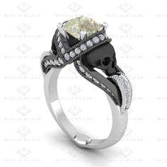 Black Gold Ring Show details for 'Aphrodite' Pink Diamond Skull White Gold Engagement Ring Gothic Wedding Rings, Skull Wedding Ring, Silver Skull Ring, Gothic Rings, Gold Skull, Skulls, Gold Ring, Silver Rings, Skull Rings