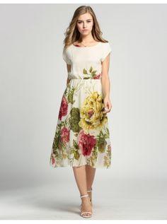 Apricot Verano estilo bohemio elegante manga corta de Gasa Dress