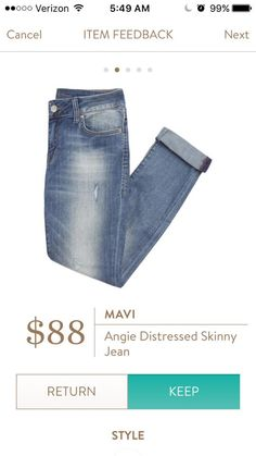 Received in my March Fix - Mavi Angie Distressed Skinny Jean