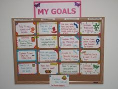 Simple idea for a goals board. Could use pretty printables instead of index cards? Or paint/ spray to make them pretty?