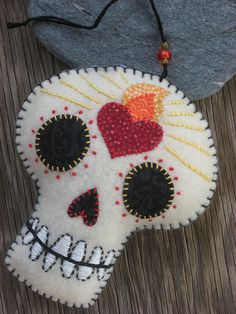 Felt Day of the Dead Embroidered Flaming Heart Sugar Skull