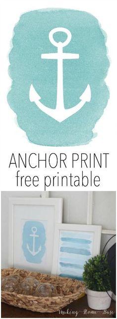 Free Anchor Printable Download. Cute beach theme home decor!