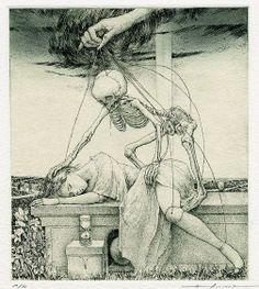 The fascinating Ex Libris book-plate illustration by unknown Japanese artist Alphonse Inoue creepy Art Macabre, La Danse Macabre, Arte Horror, Horror Art, Ex Libris, Dark Fantasy Art, Art Noir, Dance Of Death, Drawn Art
