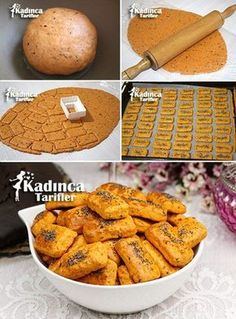 - Kadınca Tarifler - Lezzetli, Pratik ve En Nefis Yemek Tarifleri Sitesi - galletas - Las recetas más prácticas y fáciles Tea Time Snacks, Biscuits, Turkish Recipes, Best Appetizers, Fish Dishes, Desert Recipes, Easy Desserts, Crackers, Cookie Recipes