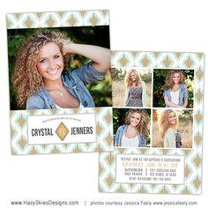 Senior Graduation Announcement Photo Card Template for Photographers - Photoshop Templates for Photographers - Photo Card Template - GD124 on Etsy, $7.50