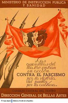 Las Guerrillas del teatro entran en acción contra el fascismo por la vitoria del pueblo por la cultura :: Cartells del Pavelló de la República (Universitat de Barcelona)