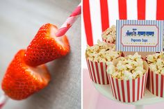 Healthy Party Food Ideas - A straw full of strawberries! Kids love picking at food and food on a stick, so this idea is genius!