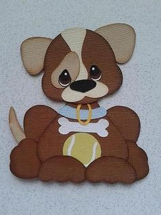 MADE TO ORDER SCRAPBOOK PAPER PIECING TINY TREASURE DOG BY MY TEAR BEARS