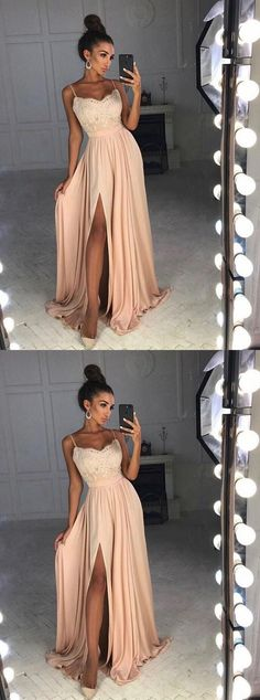 simple blush prom party dresses, elegant lace evening gowns, modest split formal gowns. #longpromdresses